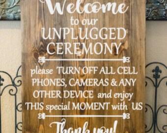 Unplugged Wedding - Wedding Wood Signs - Welcome Wedding Sign - Rustic Wood Signs
