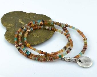 Earthtone Faceted Gemstone Wrap Bracelet