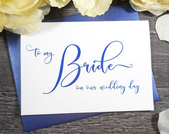 Color TO MY BRIDE on our Wedding Day Card, To My Bride Card, Bride Gift from Groom, Gift for Bride from Groom, Wedding Card, Bride Card,