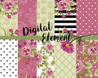 Digital Rose Paper, Watercolor Rose Digital Paper, Rose Backgroun Texture Paper, Digital Scrapbook Paper, Rose Watercolor Paper. No. P177