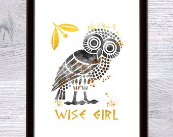 Wise girl real foil print Percy Jackson art poster Percy Jackson gold foil decor Gift idea Kids room wall art Girls room art decoration G224