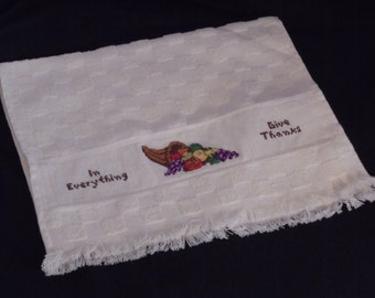 In Everything Give Thanks cross-stitched hand towel