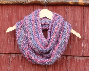 Hand Knit cowl, Knitted infinity cowl, hand knit double loop cowl. hand knit infinity scarf knit cowl hand made in usa /Ready
