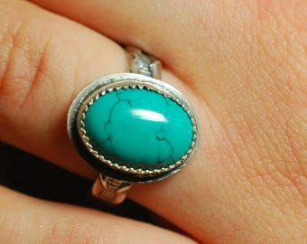 Turquoise ring, Sterling Silver ring, Handmade Turquoise ring