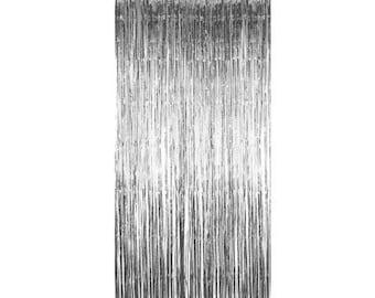 Silver Foil curtain - foil backdrop - silver foil backdrop - photo props