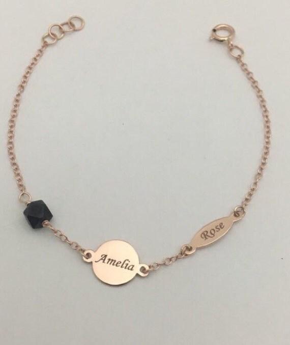14 karat gold baby azabache bracelet 14k id bracelet