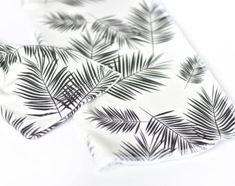 Organic cotton swaddle blanket, knott hat and swaddle, newborn bundle, palm leaf, monochrome