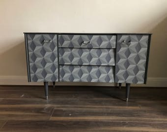 Upcycled spray-painted retro dresser