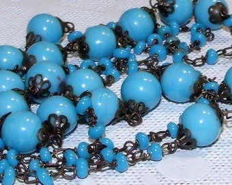 """42"""" Art Deco French Pate-de-Verre Art Glass Hand Crafted Necklace ~ Lovely Blue - Turquoise - Opaline Necklace ~ French Art Glass Beaded"""