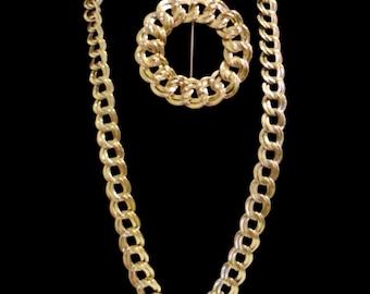 Monet Double Link Chain Necklace & Brooch ~ Dual Link Necklace ~ Gold Tone Chunky Chain ~ Use Brooch As Pendant ~ Designer Signed Monet