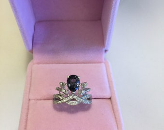Blue spinel ring (S925)