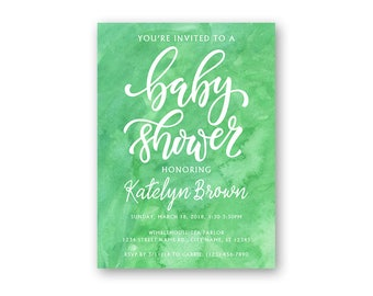 Watercolor - Baby Shower Invitation - Baby Shower Invites - Watercolor Shower Invitations - Blue Baby Shower - Boy Baby Shower