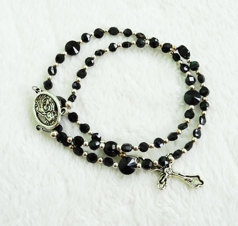 black spinel gemstone rosary genuine gemstone