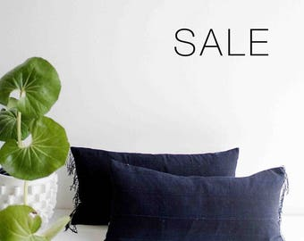 "Sale! Dark Indigo Fringe  Pillow Cover | 12"" x 24"""