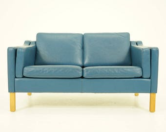 308-135 Danish Mid Century Modern Blue Leather Sofa Couch Loveseat Beech Legs