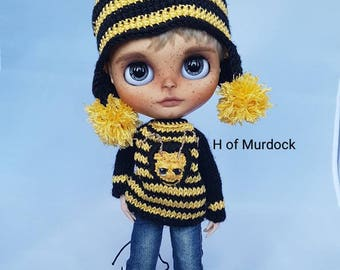 Buzzy Bee Hat & Sweater for Blythe Boy
