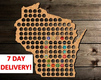 Birthday Gift for Husband, Wisconsin Beer Cap Map Wisconsin, Husband Anniversary Gifts, Christmas Gift for Husband, Husband Gifts from Wife