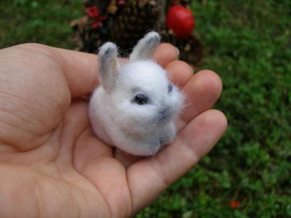 Needle Felted Bunny Miniature Tiny Bunny Rabbit By
