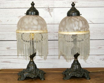 Pair 2 x Antique Art Nouveau Style Reproduction Table or Side Lamps Lights or Lights with Glass Beaded Shades