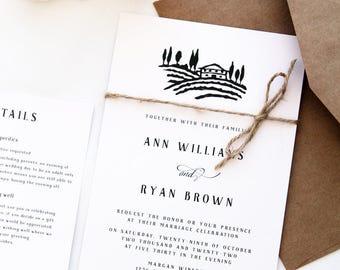 Vineyard Wedding Invitations, Rustic Wedding, Printable Files or Printed Cards, Twine Wedding Invitations, Winery Wedding, Custom Invitation