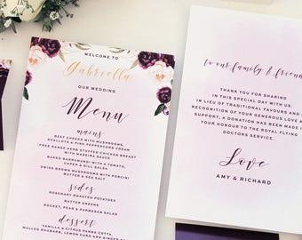 Margarette Burgundy Wedding Menus, Printable Menu or Printed Menus, Menus with Names, Watercolour Flowers, Menus with Thank you Note