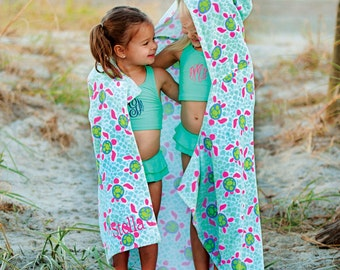 CLEARANCE: Turtle Tide Hooded Beach Towel/ Hooded Beach Towel/ Summer Accessories/ Monogrammed Towel/ Monogrammed Beach Towel