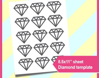 "Diamond Template, Diamond Cup Cake Topper  Instant Download, PSD, PNG and SVG Formats,  8.5x11"" printable, Cutting file 092"