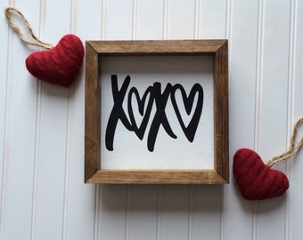 Hugs and Kisses Wood Framed Wood Sign // love // love quotes // farmhouse // wood painted sign