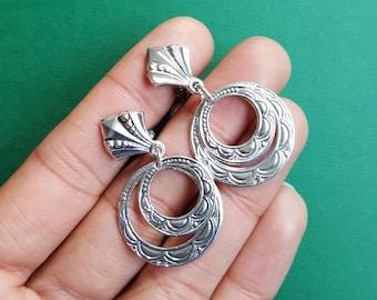Deadstock Spanish hoop clip on earrings - silver