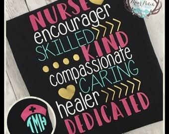 Personalized Nurse Shirt, Monogrammed Nurse Shirt, Subway Word Art Nurse Shirt, Nurse Cap Hat Monogram Shirt, Monogrammed Vinyl Shirt