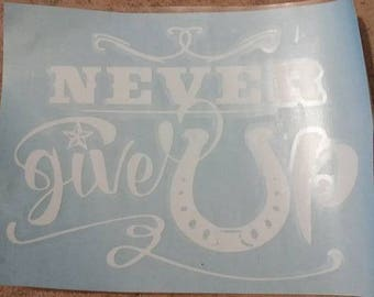 Cowboy / Cowgirl horse decal - never give up