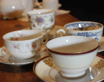 Tea Party Set of Coordinating Cups and Saucers -013