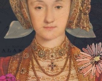 Anne of Cleves Print - Flowers, Tudor, Henry VIII, Queen, England, Royalty, Historical,Anne Boleyn, Six Wives, Roses, Castle,