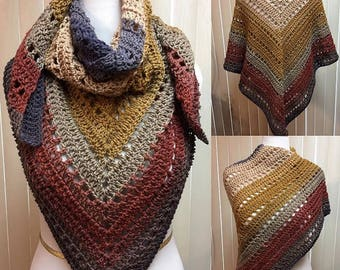 Gold and Beige Shawl, Neutral Earthtones Shawl, Triangle Scarf, Crocheted Shawl, Gold Shawl, Gold and Beige Wrap, Gifts for Her, Beige Shawl