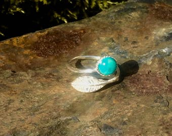 Turquoise and Sterling Silver Leaf Adjustable Ring