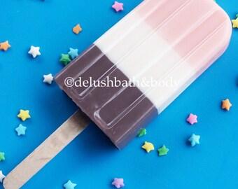 Soap-sicles, Neapolitan, soap pop, ice pop soap, icecream soap, glycerin soap, chocolate,
