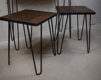 1pc rustic industrial bar stool wooden vintage kitchen seat handmade