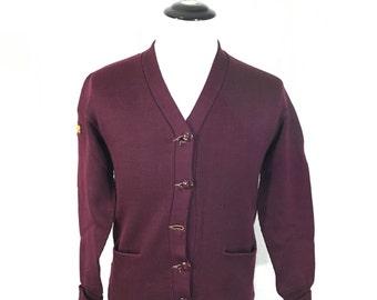 50's vintage varsity lettermans cardigan wool maroon color