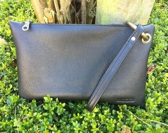 Clutch black leather