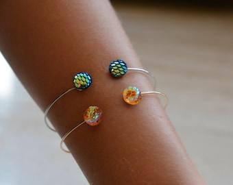 Gold,blue magical mermaid bracelet,gift for her,minimalistic jewelry,minimalistic bracelet