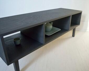 Mid Century Modern Media Cabinet | TV Stand | Coffee Table | 45 rpm Vinyl Record Storage | Media Console | Zero-VOC Natural Finish
