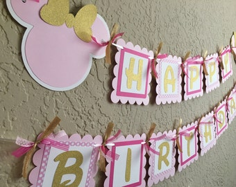 Pink and Gold Minnie Banner, Pink and Gold Minnie Birthday, Pink and Gold Minnie Mouse Birthday, Pink and Gold, Minnie Mouse Banner, Minnie
