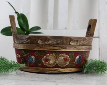 Deutscher Antiker Brotkorb Holz aus den Bayrischen Alpen Tisch Möbel Servier Schüssel Kostbare Handarbeit Vintage