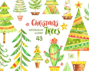 Christmas Trees Watercolor Clipart Potted Winter Cute Card Diy