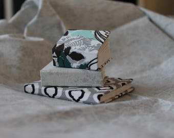 Miniature Gray and Teal Handmade Journal Set