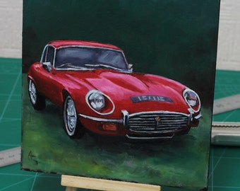 E Type Jaguar, car original oil painting, Gift for him, gift for car lover, Car gift for men, Desk ornament, Classic car memorabilia