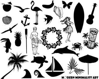 28 PNGS, Tropical Clipart, Aloha, Luau, Tropical Silhouettes, Hawaiian Clipart, Hula Girl, Dolphin, Tiki, Hibiscus Flower, Lei, Summer, Fish