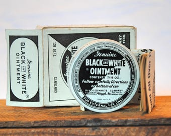 Vintage Genuine Black and White Ointment Tin with Box and Insert