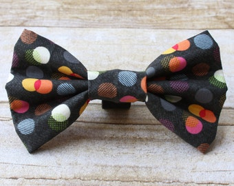 Gray Color Cicles Dog Bow Tie