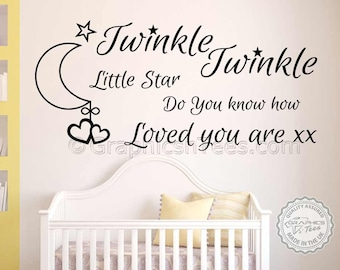 Nursery Wall Sticker,Twinkle Twinkle,Do You Know How Loved You Are, Baby Boy Girls Bedroom Wall Quote